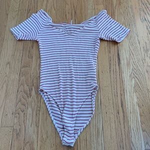 Red & white stripe bodysuit